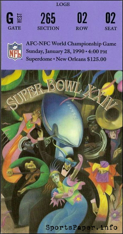 Super Bowl XXIV game ticket