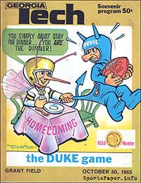 Georgia Tech Yellow Jackets vs. Duke Blue Devils (October 30, 1965)