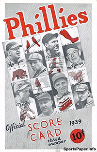 1939 Philadelphia Phillies Scorecard/Program