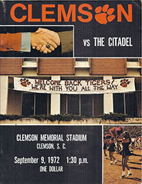 Clemson Tigers (#4) vs. Citadel Bulldogs (September 9, 1972)