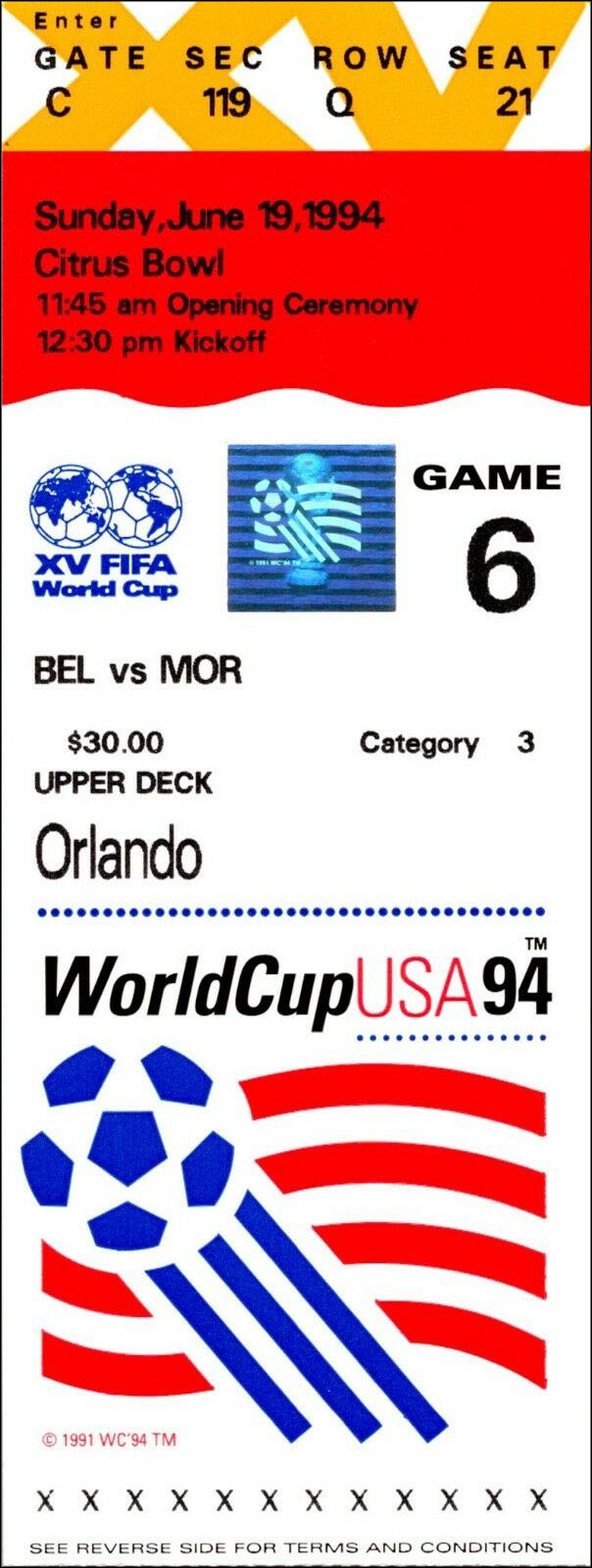 1994 FIFA World Cup ticket, Belgium vs. Morocco