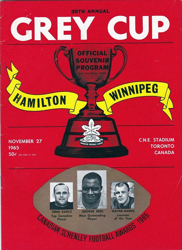 1965 GREY CUP (HAMILTON TIGER-CATS VS. WINNIPEG BLUE BOMBERS)