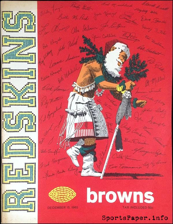 Washington Redskins vs. Cleveland Browns (December 15, 1963) Christmas program